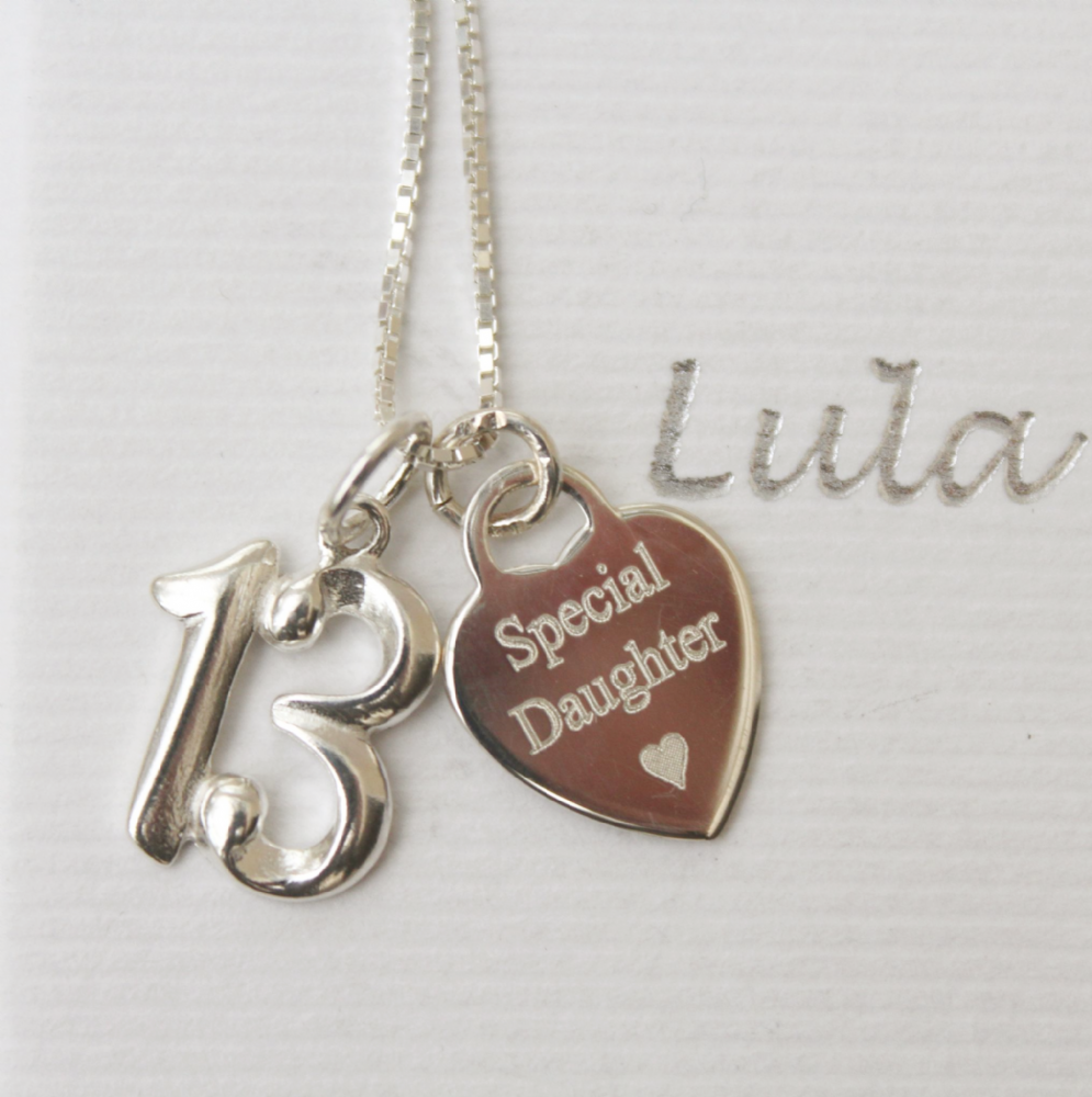 13th birthday silver jewellery gift for a daughter - FREE ENGRAVING